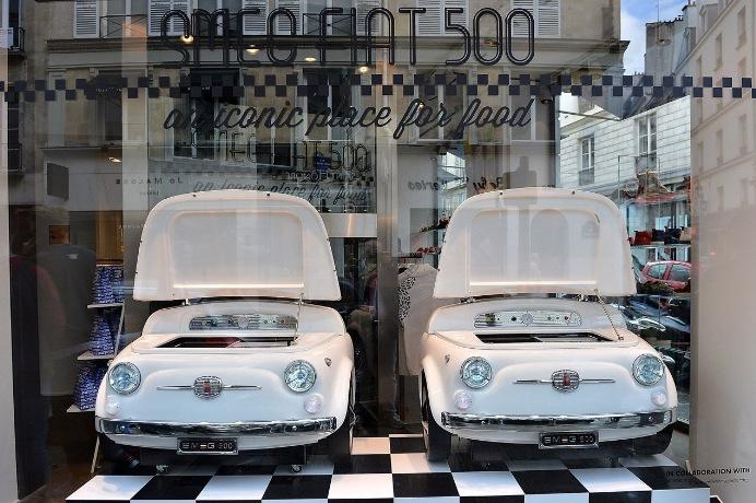 white Smeg Fiat 500 fridge
