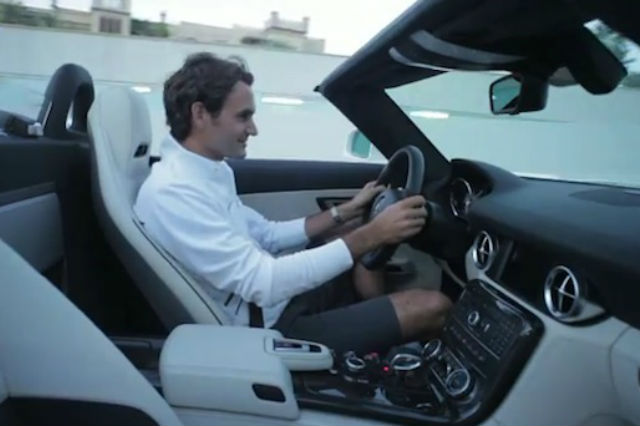 Federer driving an AMG