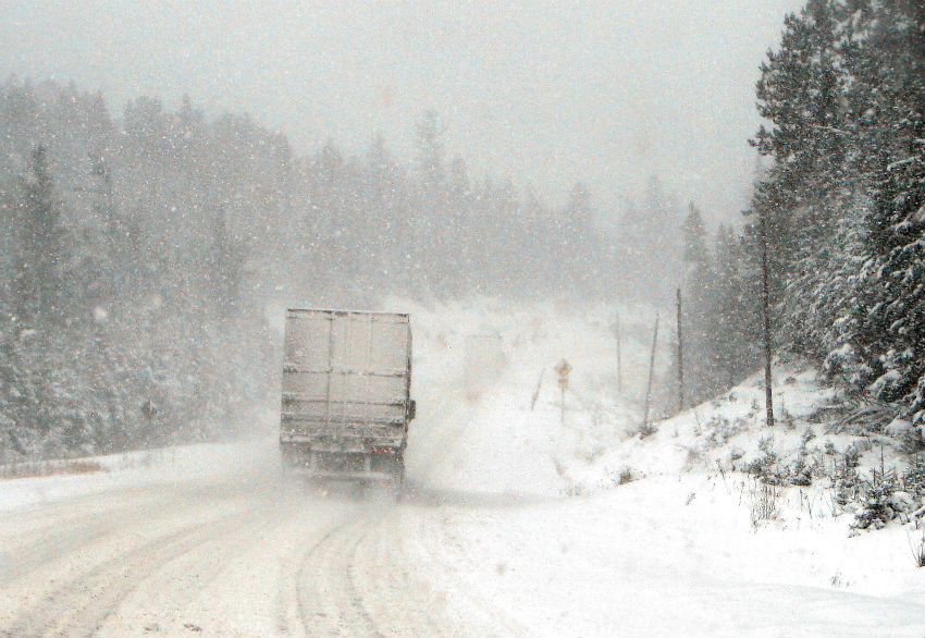 Lorry driving in snow