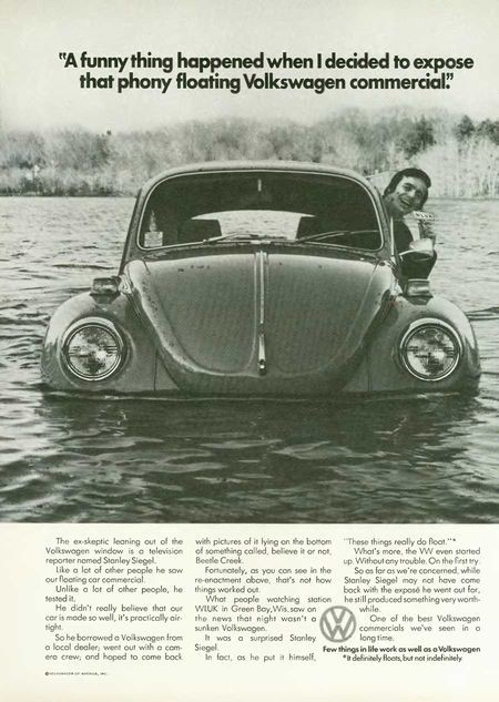 Print ad Volkswagen Beetle floating
