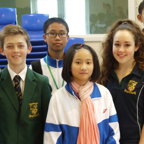 Sibford students Billy Burton (Year 7) and Amy Bothwell (Year 9) are pictured with some of the Chinese students.