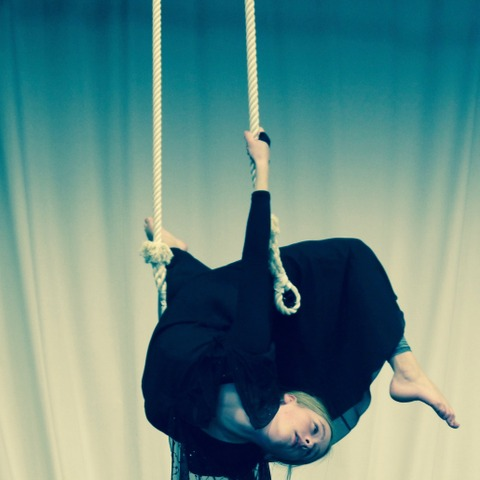 Year 9 pupil Althea in rehearsal on the trapeze.