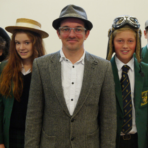 •	Hat's the way to do it! Neil Madden is pictured with tutees Esther Rippon, Hannah Denley, Devon Perry and Jonno Todd.
