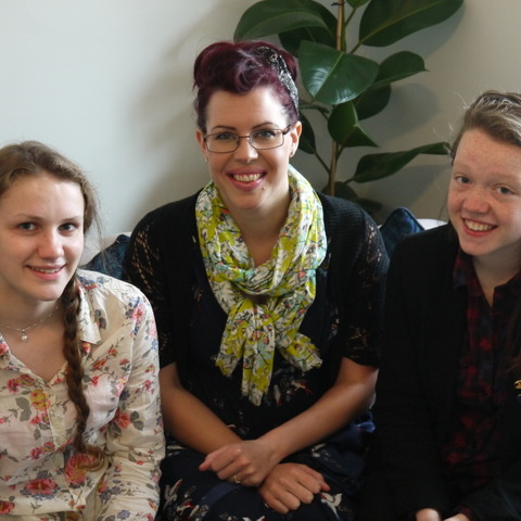 Natasha Devon is pictured with Sibford students Kate Mills (left) and Caroline Berkley