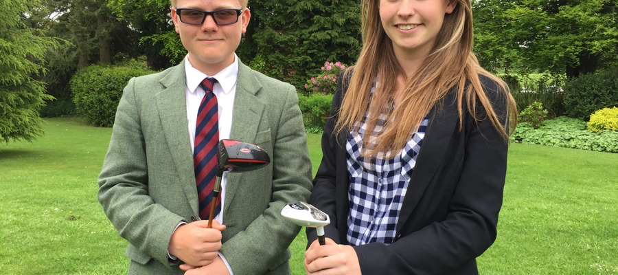 Daniel Haycocks and Victoria Raffle who have qualified for the Midlands Schools Golf Championship in June 2017