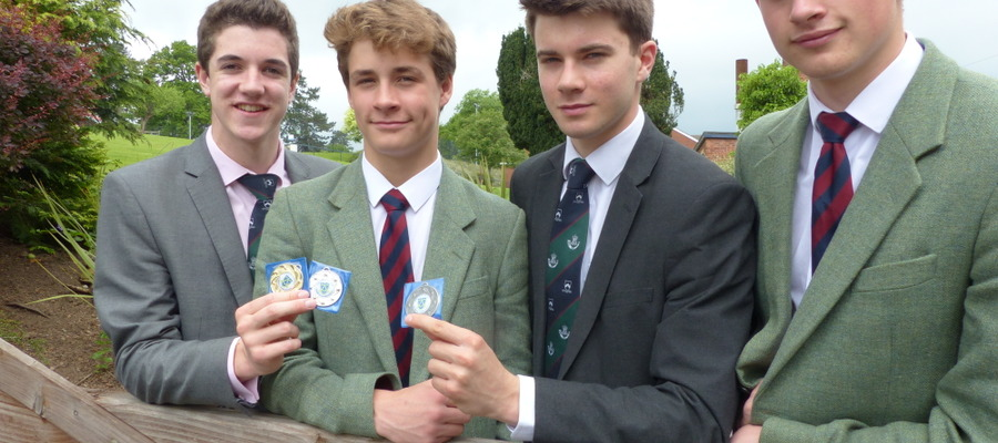 Michael Doyle, Dan Counter, Joseph Law and Alistair Moss who secured medal positions at the Shropshire Schools Swimming Gala