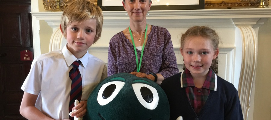 Kate Warner from NSPCC who received £2335.17 from Bellan House pupils following their sponsored walk to Admiral Rodney's Pillar