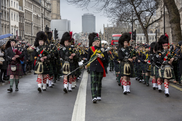 Student members of the Pipes and Drums band at Gordon's School marching along Whitehall. The school, which is the national monument to General Charles Gordon, is the only one in the country permitted to march along this iconic street.