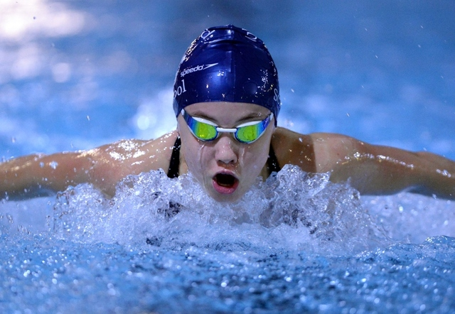 Culford swimmer, training in the sport centre pool