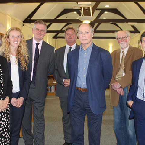 Poets Harry Guest and Lawrence Sail join the Headmaster, Chairman of Governors, Librarian and pupils in a celebration of the School House Library