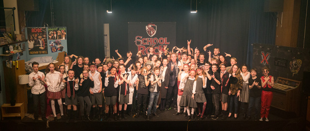 Lord Lloyd Webber with the Cheam School cast