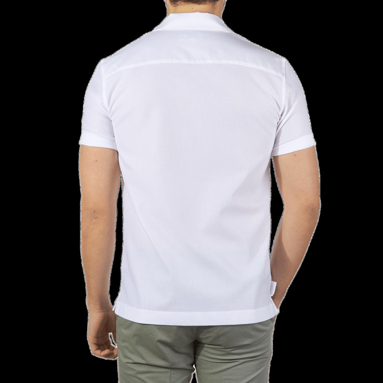 7b583469 Sunspel-White-Short-Sleeve-Jersey-Polo-Shirt-Back-Back - Baltzar