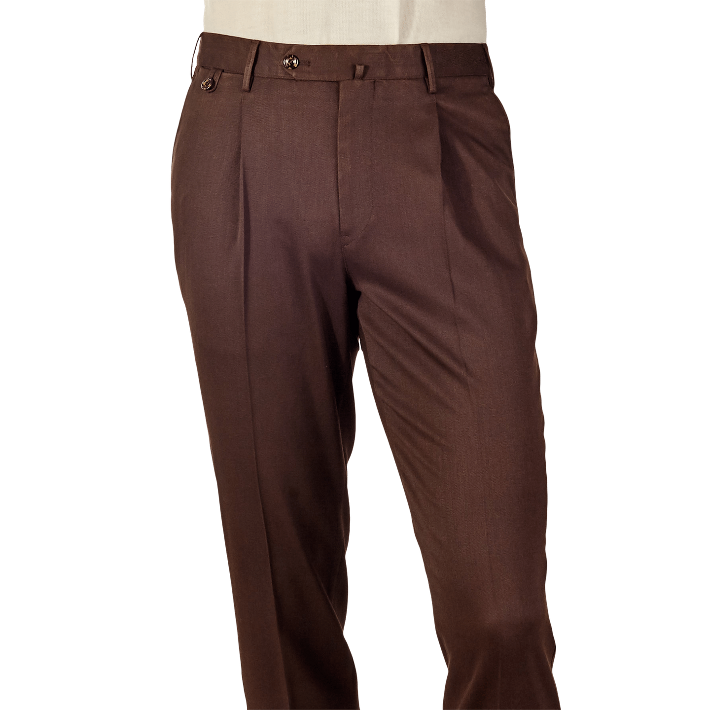 reputable site 18fab ba69c PT01-Dark-Brown-Pleated-Washed-Wool-Gentlemen-Fit-Trousers-Front.png