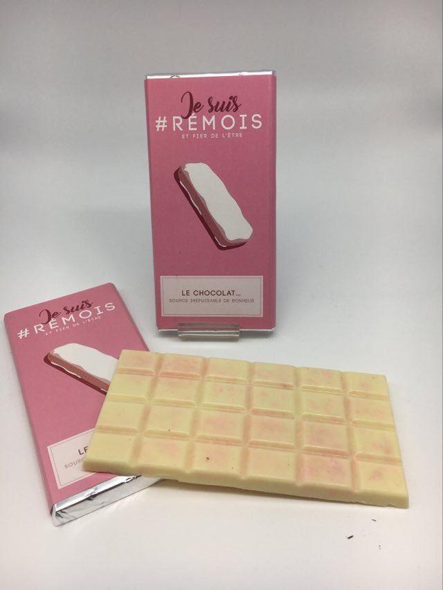 #je suis rémois BR chocolat blanc/biscuit rose