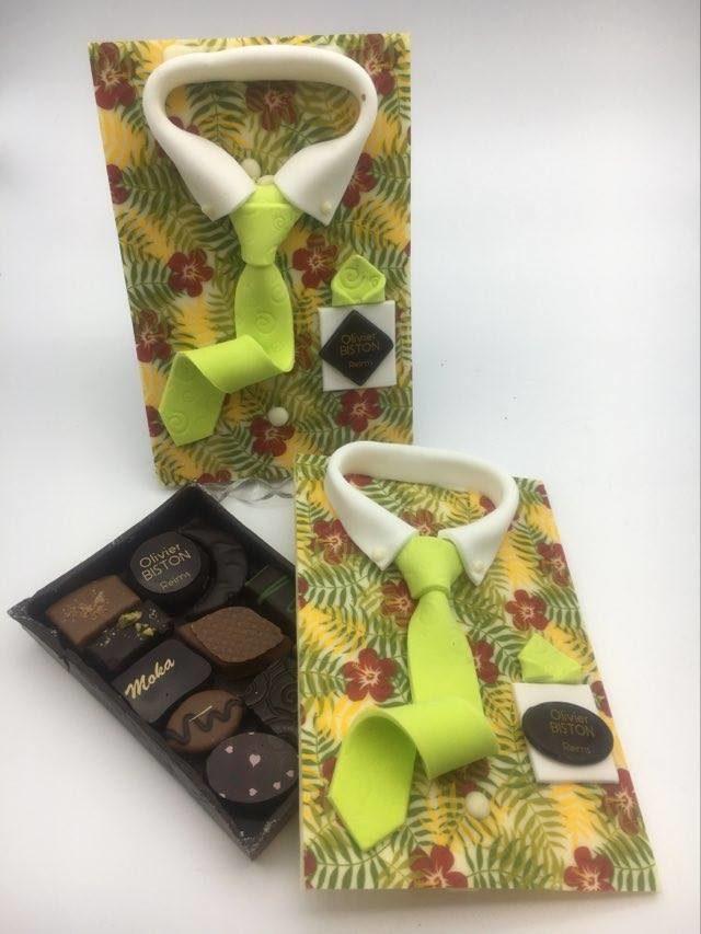 Chemise en chocolat grand format déco hawai