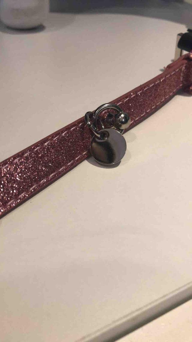 collier rose à paillettes