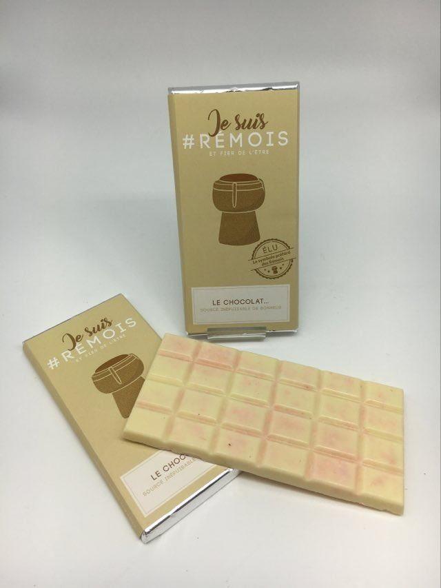 #je suis rémois BC chocolat blanc/biscuit rose