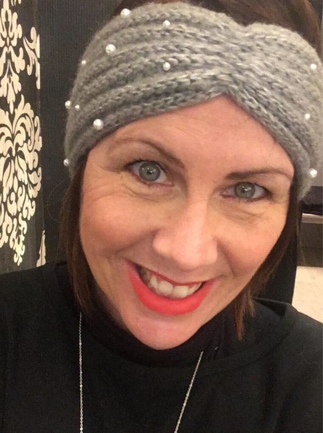 bandeau gris avec perle