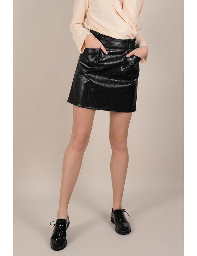 jupe noir en similicuir taille L