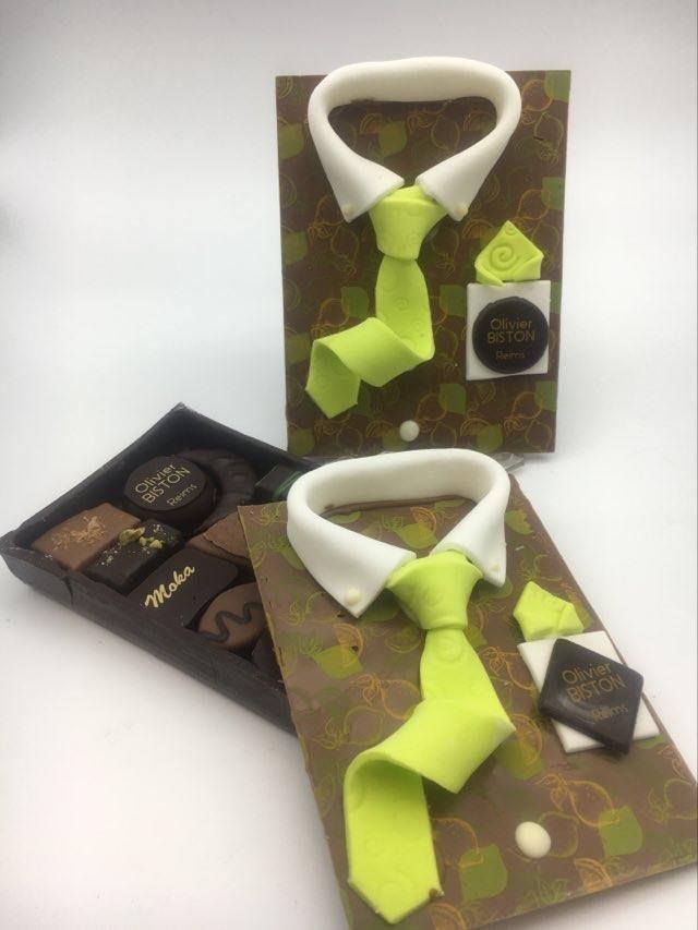 Chemise en chocolat grand format déco feuillage