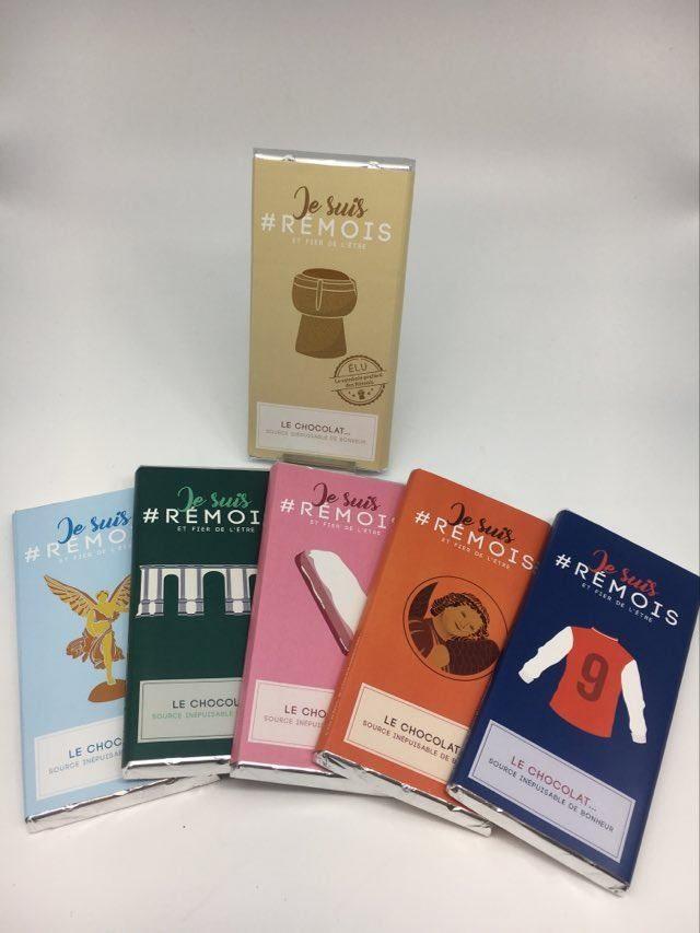 lot de 6 tablettes #je suis rémois - chocolats assortis