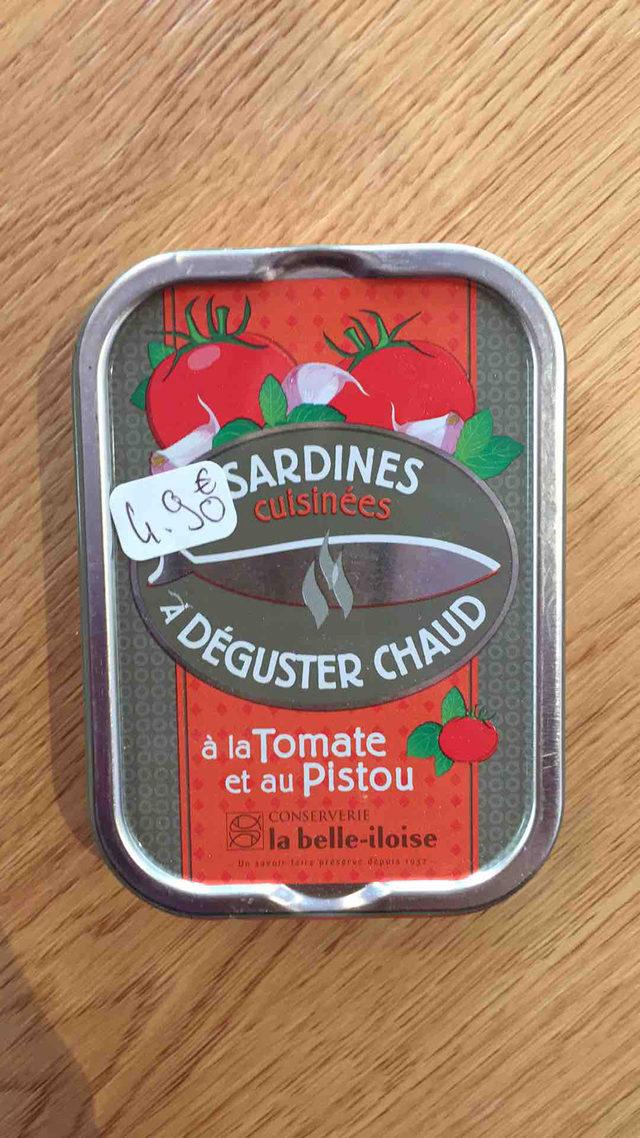 Sardines cuisinées à déguster chaud à la tomate et au pistou La Belle Iloise
