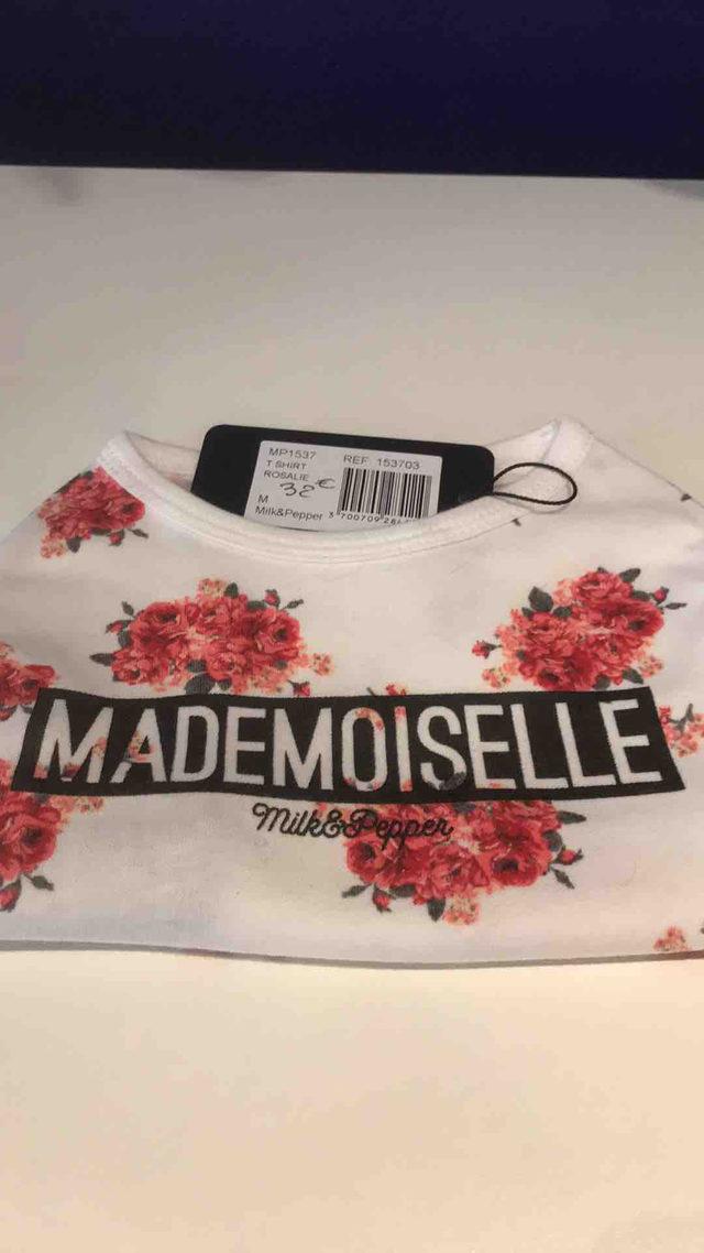 T Shirt Blanc a Fleures