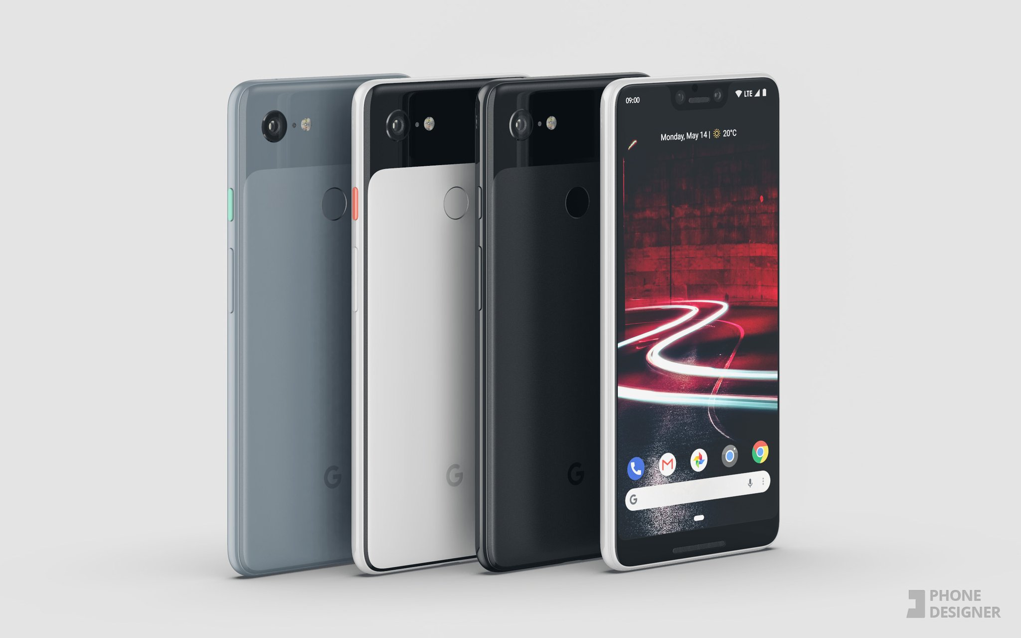Google Pixel, Google Pixel 3XL, Pixel 3XL, Render Google Pixel 3XL, Render, Render Pixel 3XL, Pixel 3XL render, Pixel 3XL leak, leaked image Pixel 3XL, Pixel 3XL colours