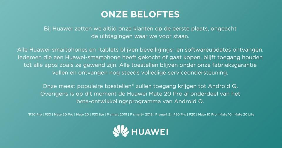 Huawei, verklaring, beloftes, Android Q, garantie, updates
