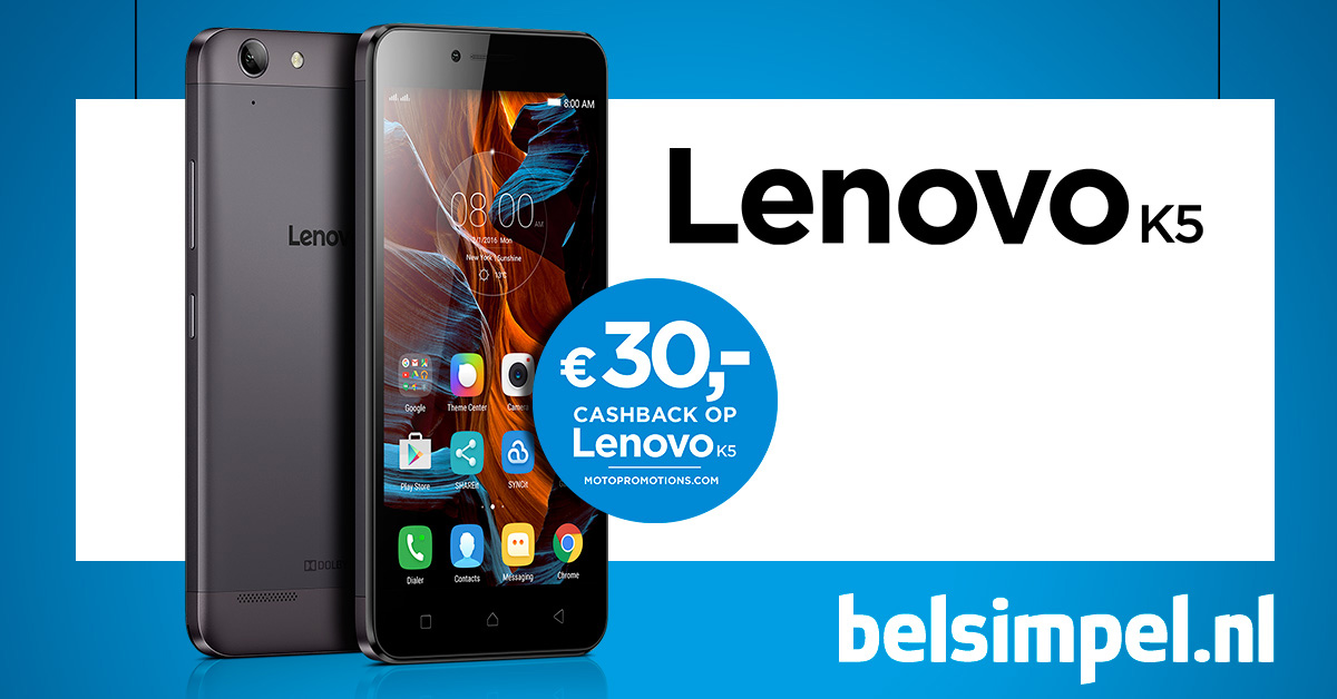 De Lenovo K5 nu met €30 cashback!