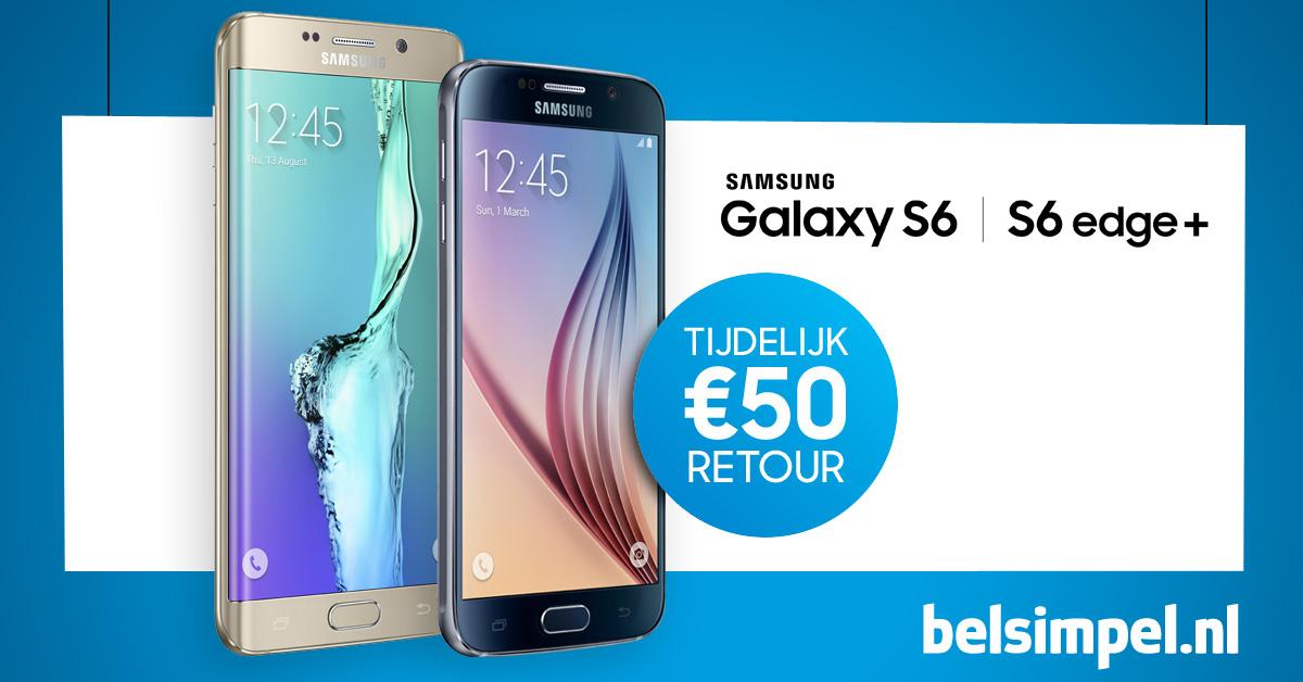 Samsung Galaxy S6 en S6 Edge Plus met €50 cashback!