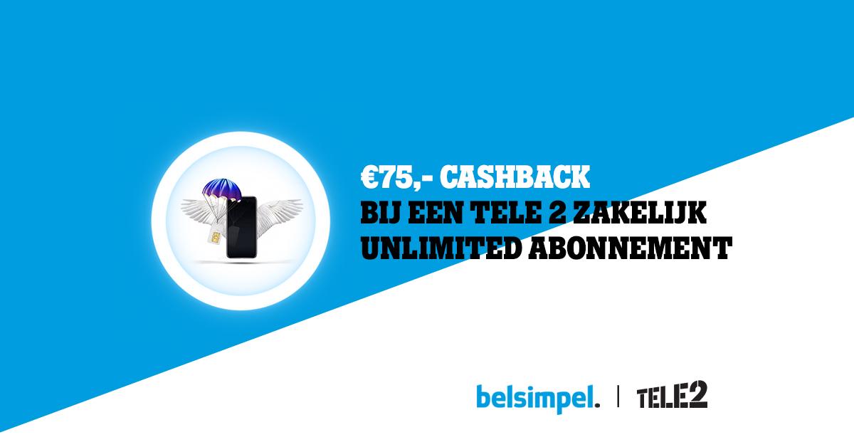 Tijdelijk 75 euro terug voor ondernemers bij een Tele2 Zakelijk Unlimited abonnement!