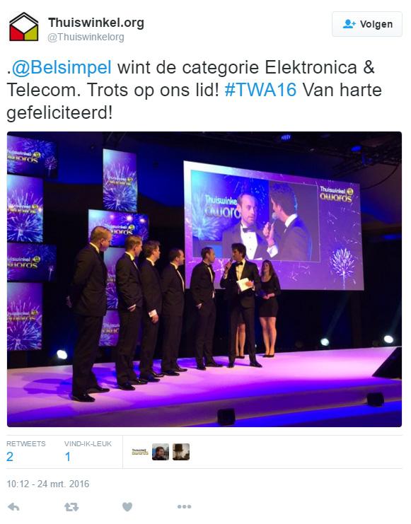 Belsimpel.nl wint Publieksprijs XL bij Thuiswinkel Awards
