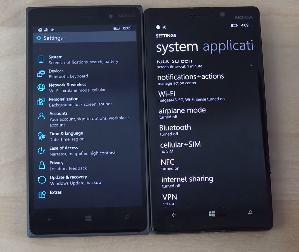 WIndows Phone 10 Settings