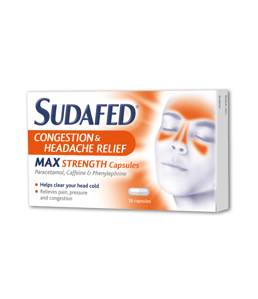 SUDAFED® Congestion & Headache Relief Max Strength Capsules