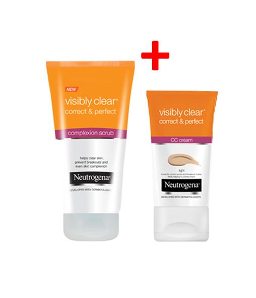NEUTROGENA VISIBLY CLEAR® Correct & Perfect Complexion Scrub + NEUTROGENA VISIBLY CLEAR® Correct & Perfect CC cream