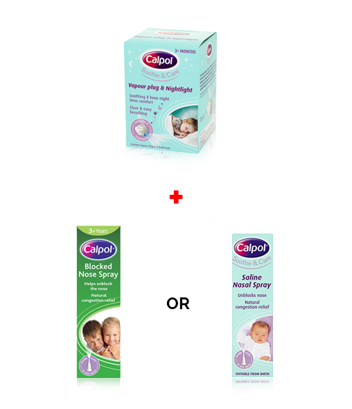 CALPOL® Vapour Plug + CALPOL® Saline Nasal Spray or CALPOL® Blocked Nose Spray