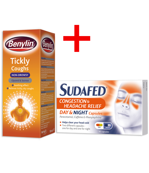 BENYLIN® Tickly Coughs Non-Drowsy and SUDAFED® Congestion & Headache Relief Day & Night Capsules