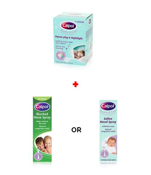 CALPOL® Vapour Plug + CALPOL® Saline Nasal Spray or CALPOL® Blocked Nose Spray
