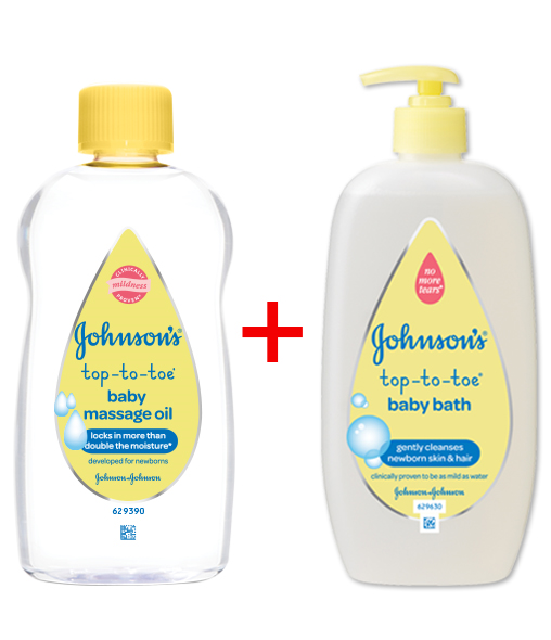 JOHNSON'S® TOP-TO-TOE® Baby Bath and Baby Massage Oil when purchased together