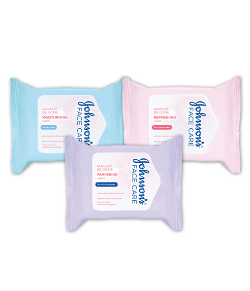 JOHNSON'S® Makeup be gone Cleansing Wipes Range