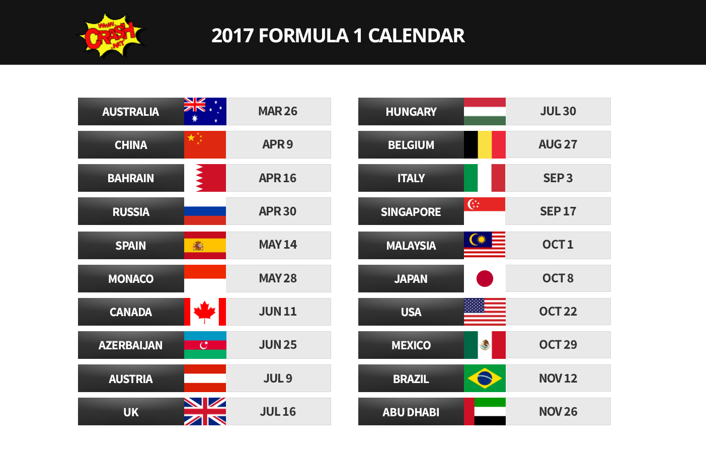 F1 Feature 2017 F1 Calendar Driver Line Up And Tv Schedules