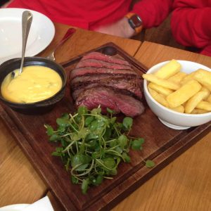 Chateaubriand with hand cut chips, watercress salad