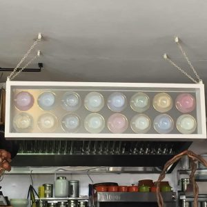 Very cool lights in the Feel Good Cafe