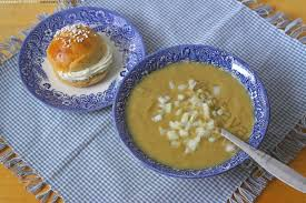 Pea soup, and cream filled buns