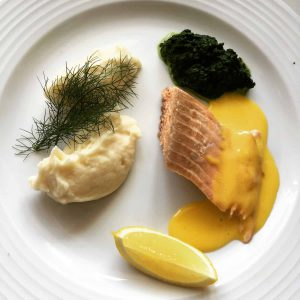 Poached Salmon with pommes mousselline