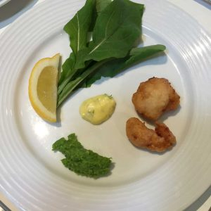 Scampi with Tartare Sauce and mushy peas with mint