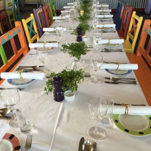 Close up of the tables