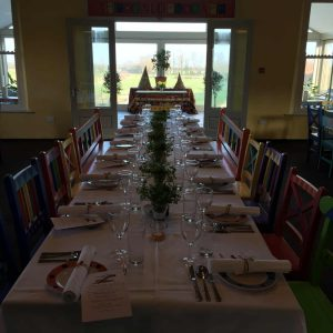 The long table, looking out into the fields