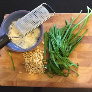 Pinenuts, freshly grated parmesan, and wild garlic